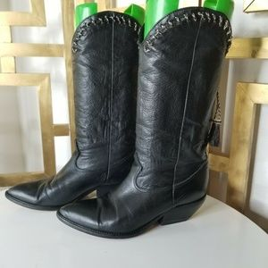 Zodiac Women Black Leather Vintage Cowboy Boots 9